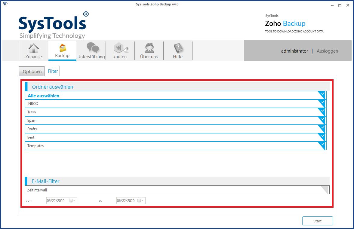 E-Mails aus Zoho exportieren