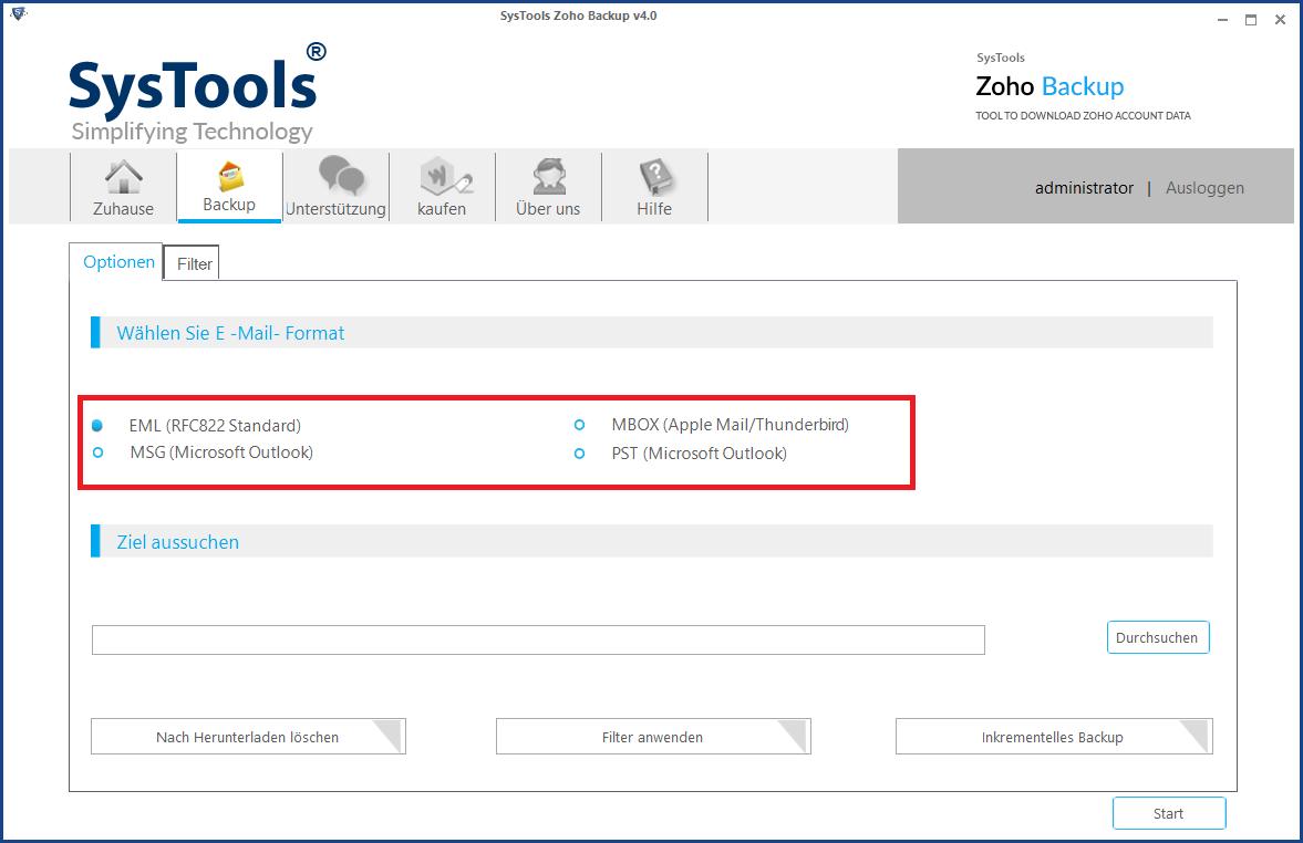 Exportieren Sie Zoho-E-Mails