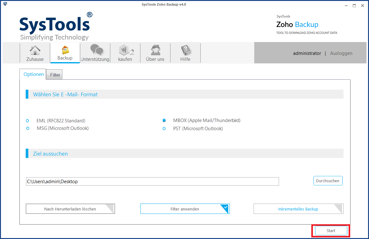 Alle E-Mails aus Zoho exportieren