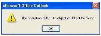 outlook fehler beim vorgang. ein objekt kann nicht gefunden werden,