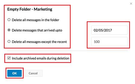 empty folder in zoho mail