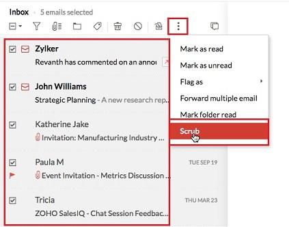 Scrub mail to clean zoho mailbox