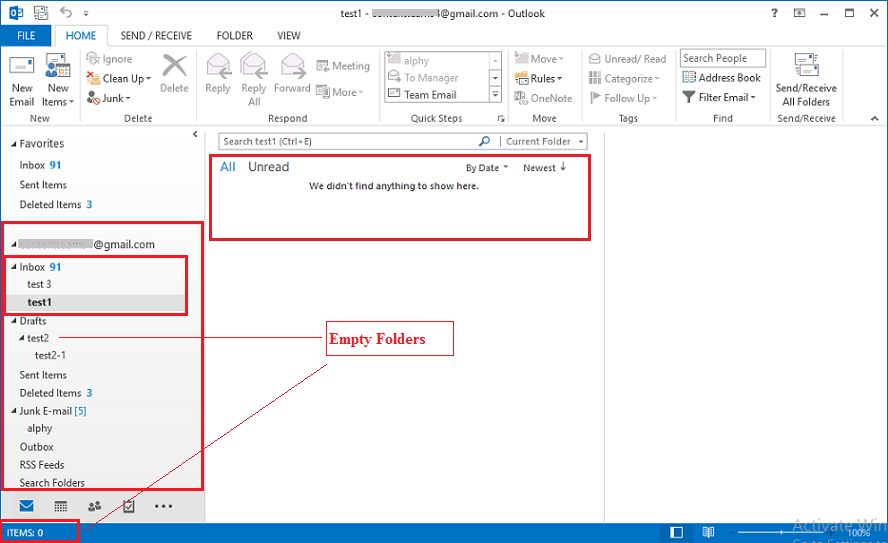 outlook pst file empty folders