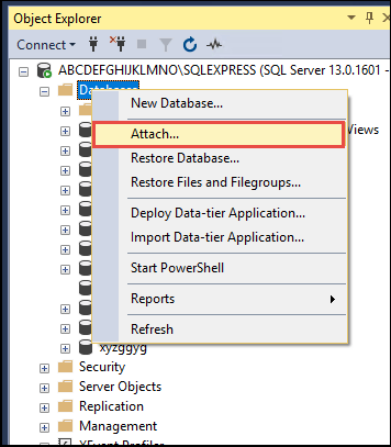 Restore SQL Server Database From MDF File
