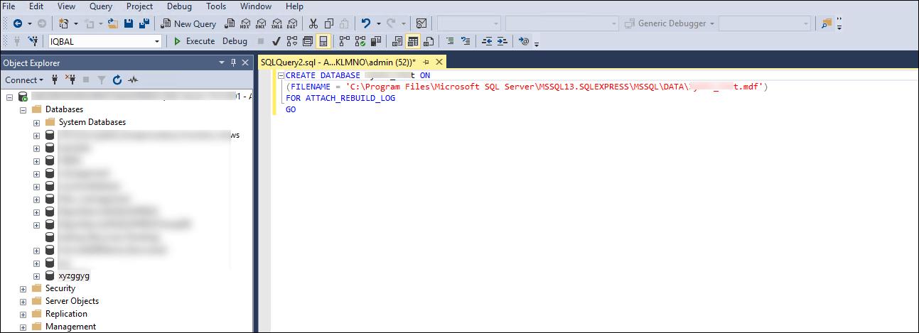 Restore MS SQL Server database