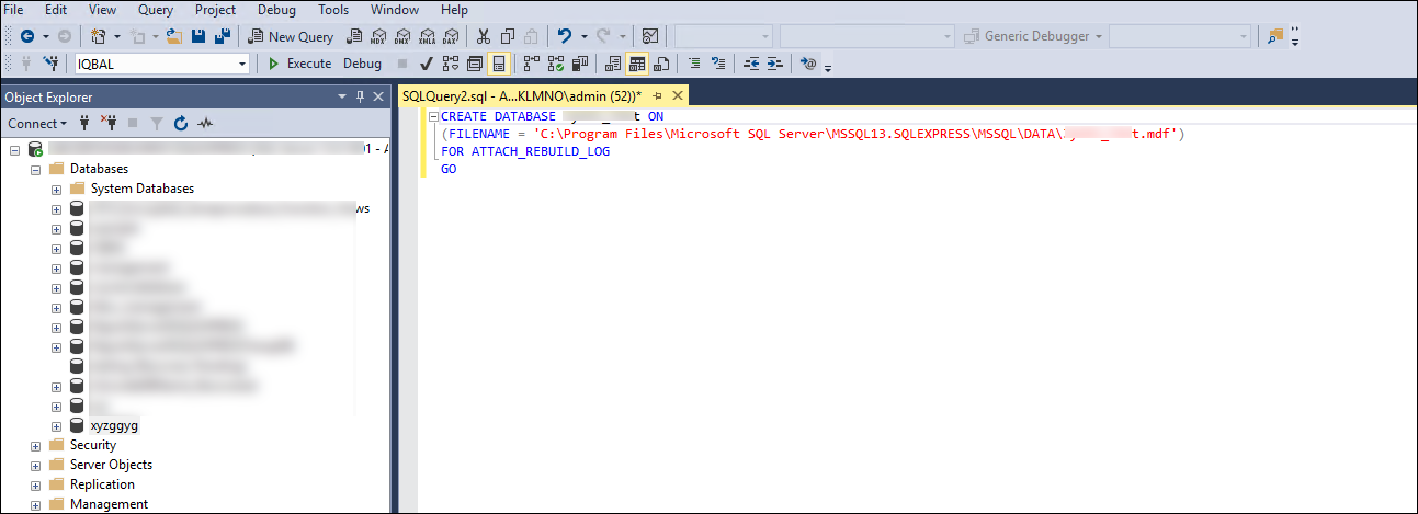 Recover MS SQL Server database