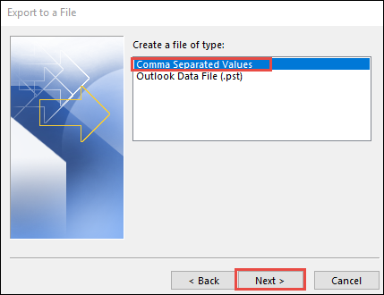 Convert Outlook Contacts to CSV