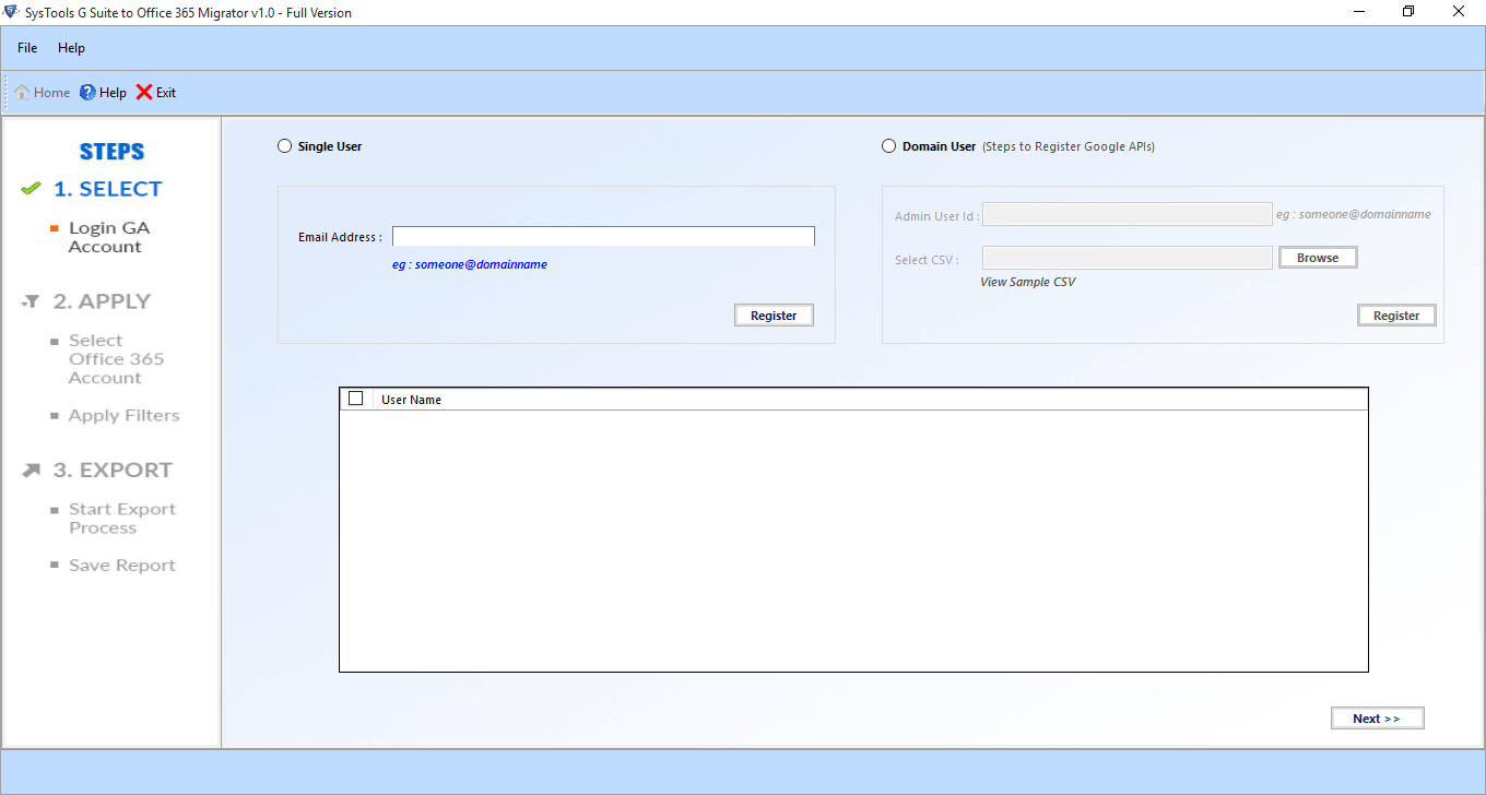 gmail to office 365 migrator welcome