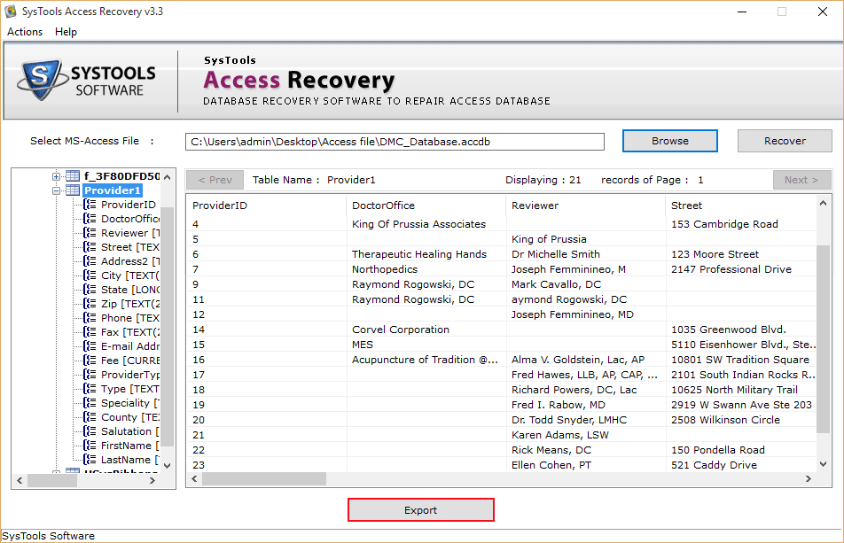 access repair and recovery tool