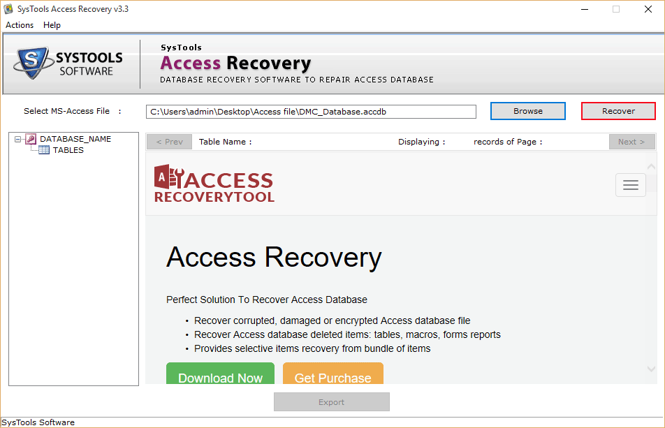 recover access file