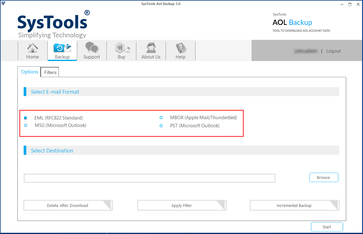 select format to download AOL mailbox
