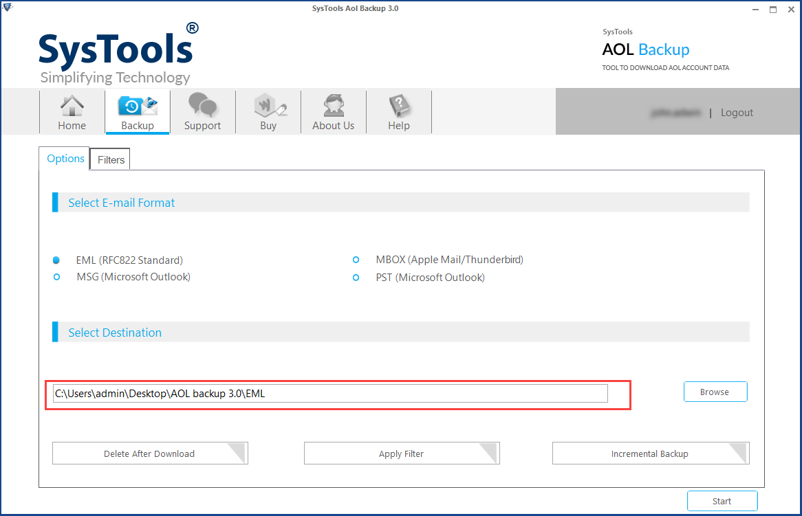 browse location to save aol emails