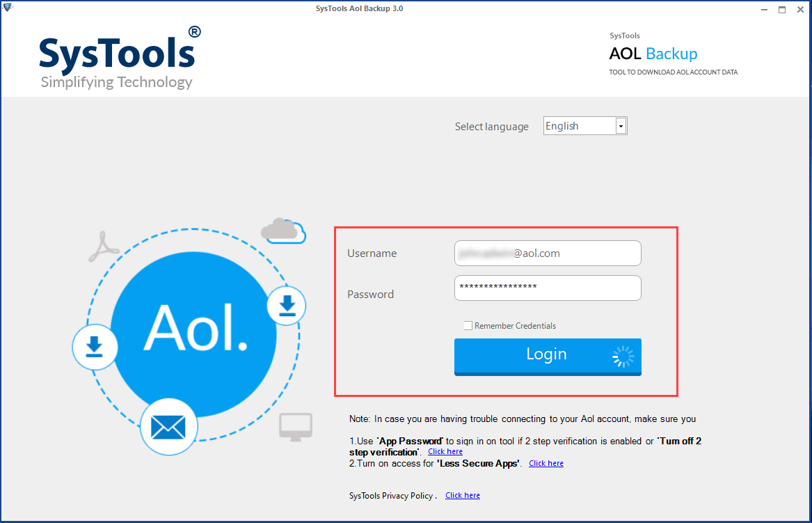 SysTools AOL Email backup software