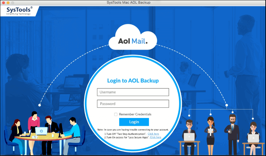 Login to Mac AOl Backup tool