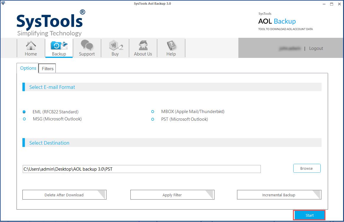 backup AOL data