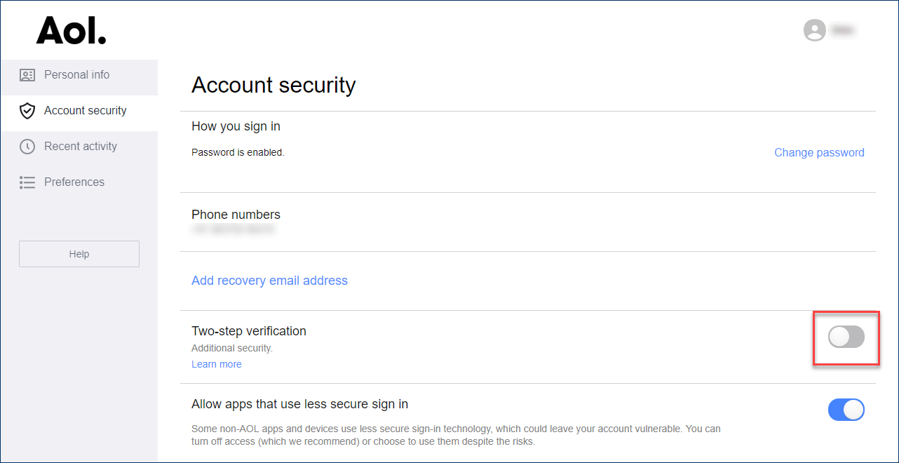 disable two step verification