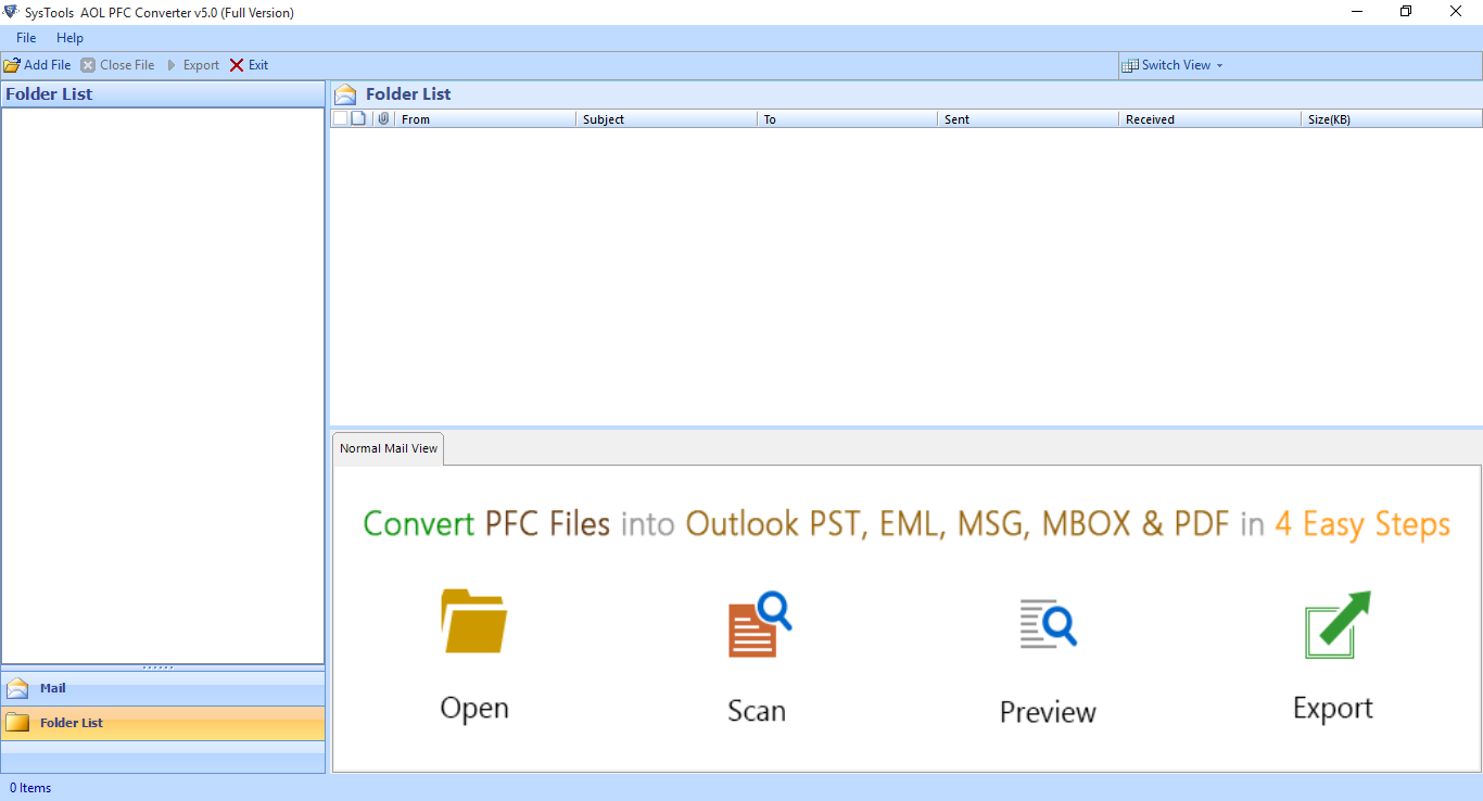Initial Screen of AOL PFC File Converter