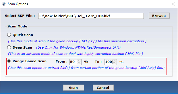 recover corrupt data from bkf file