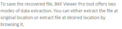 save recovered bkf file