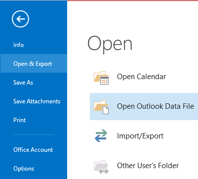 open pst in outlook