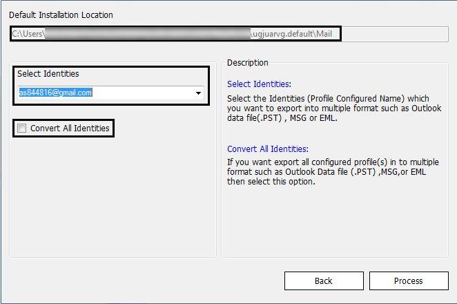 Select the identities to convert Netscape Mac OS X