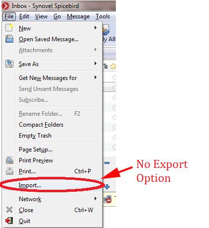 no export option