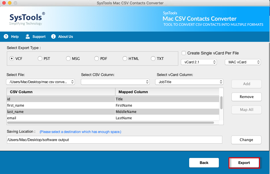 convert csv to vcard mac