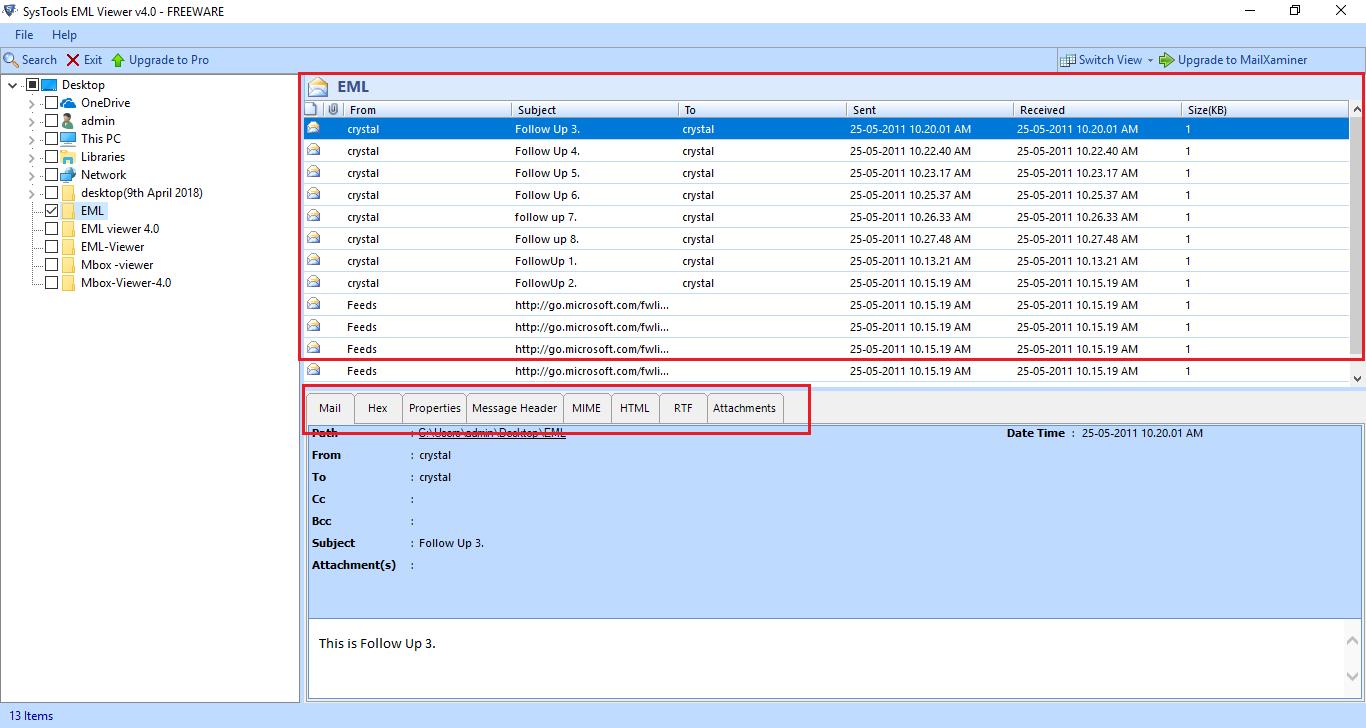 Free EML File Explorer