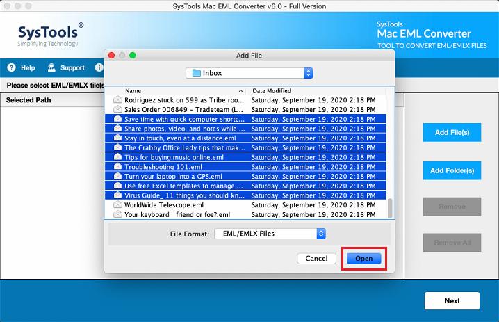 Add Folder of EML files