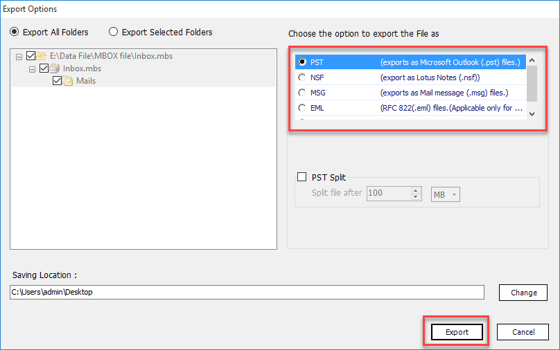 Choose Export Button to convert Eudora Emails to PST With Attachments