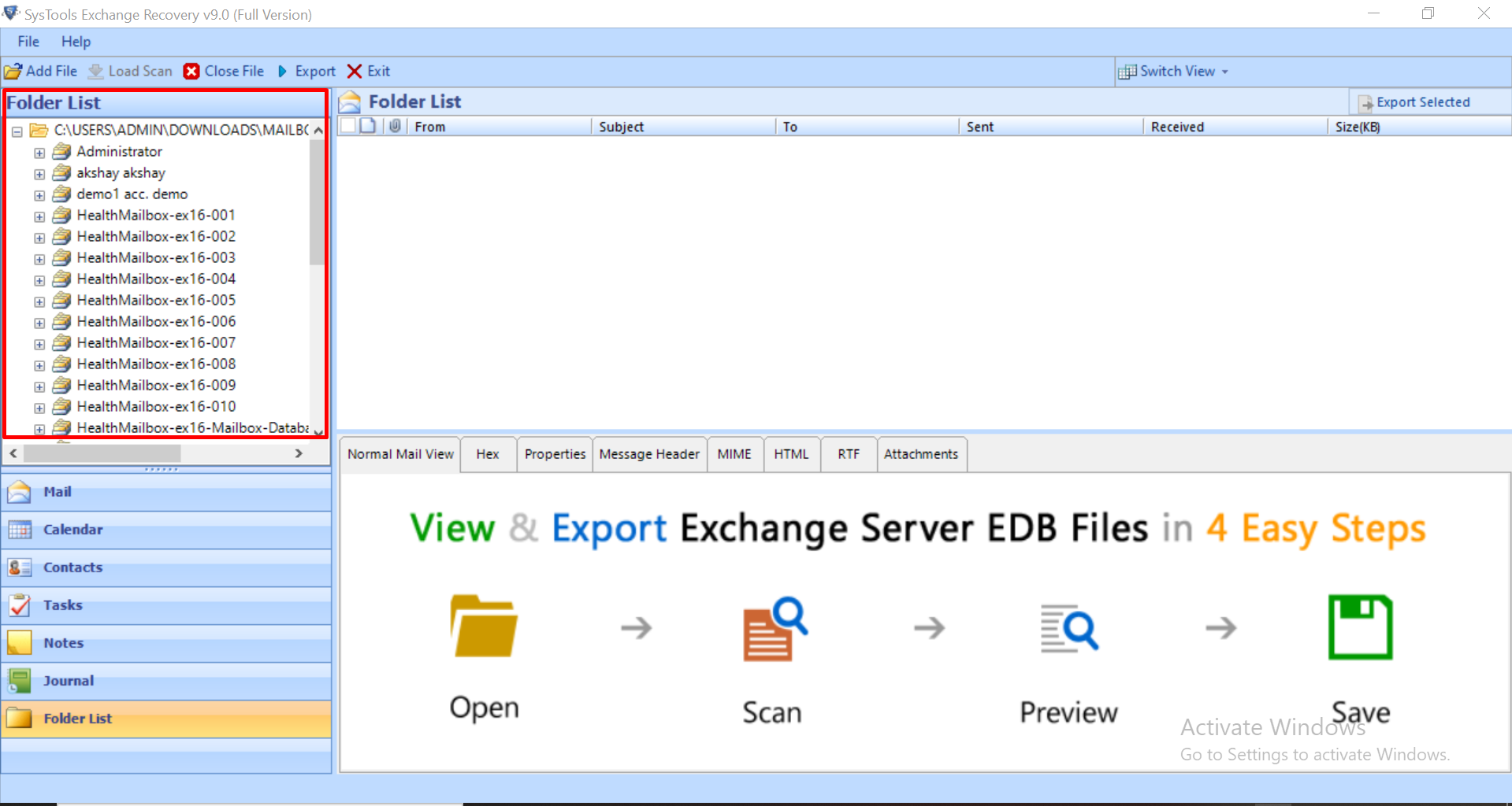 Preview Recovered EDB Files