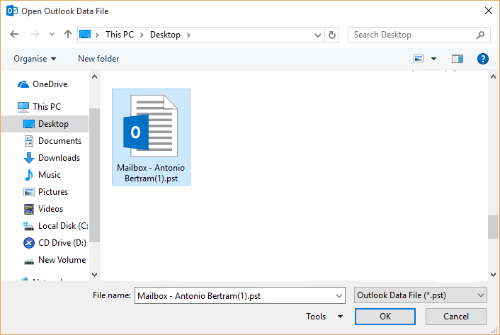 Open PST file in Outlook