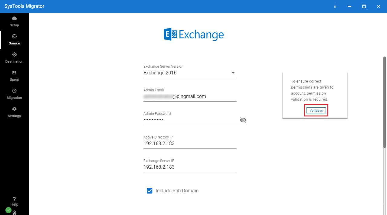 permissions validate - Secure and Reliable Exchange Mailbox Migration Tool for Users