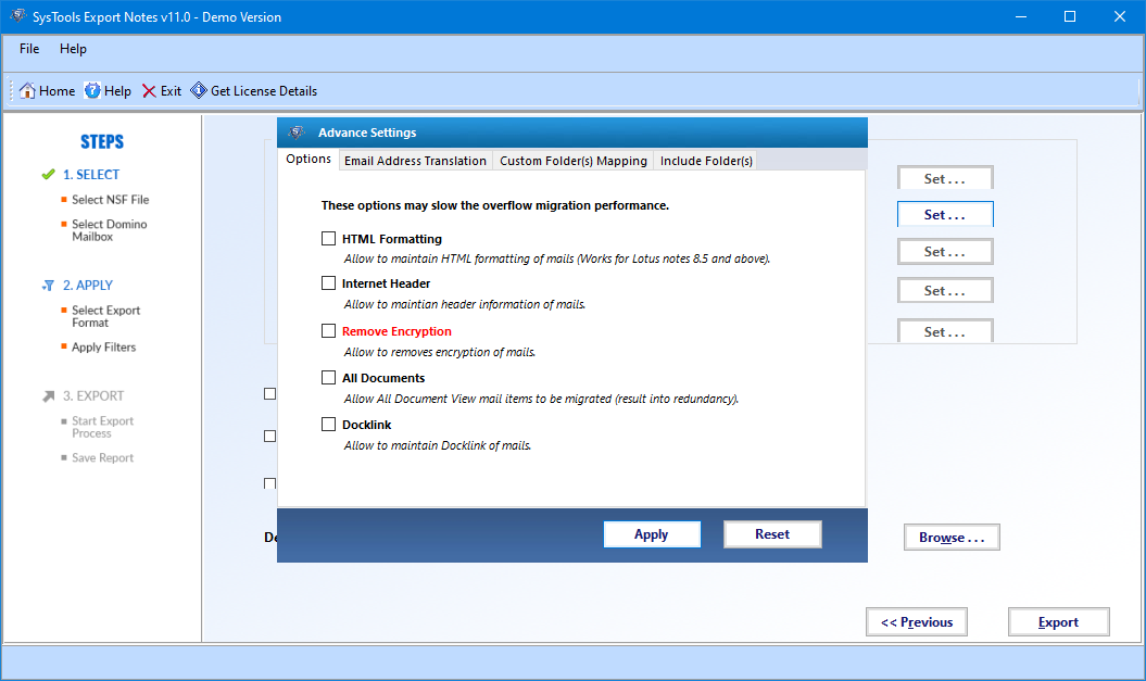 apply advance settings for successful migration