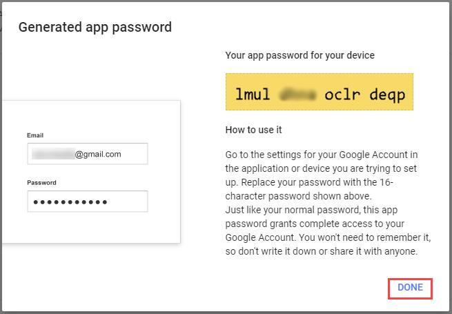 app password generated