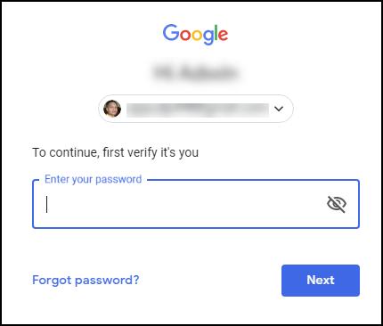 enter gmail password