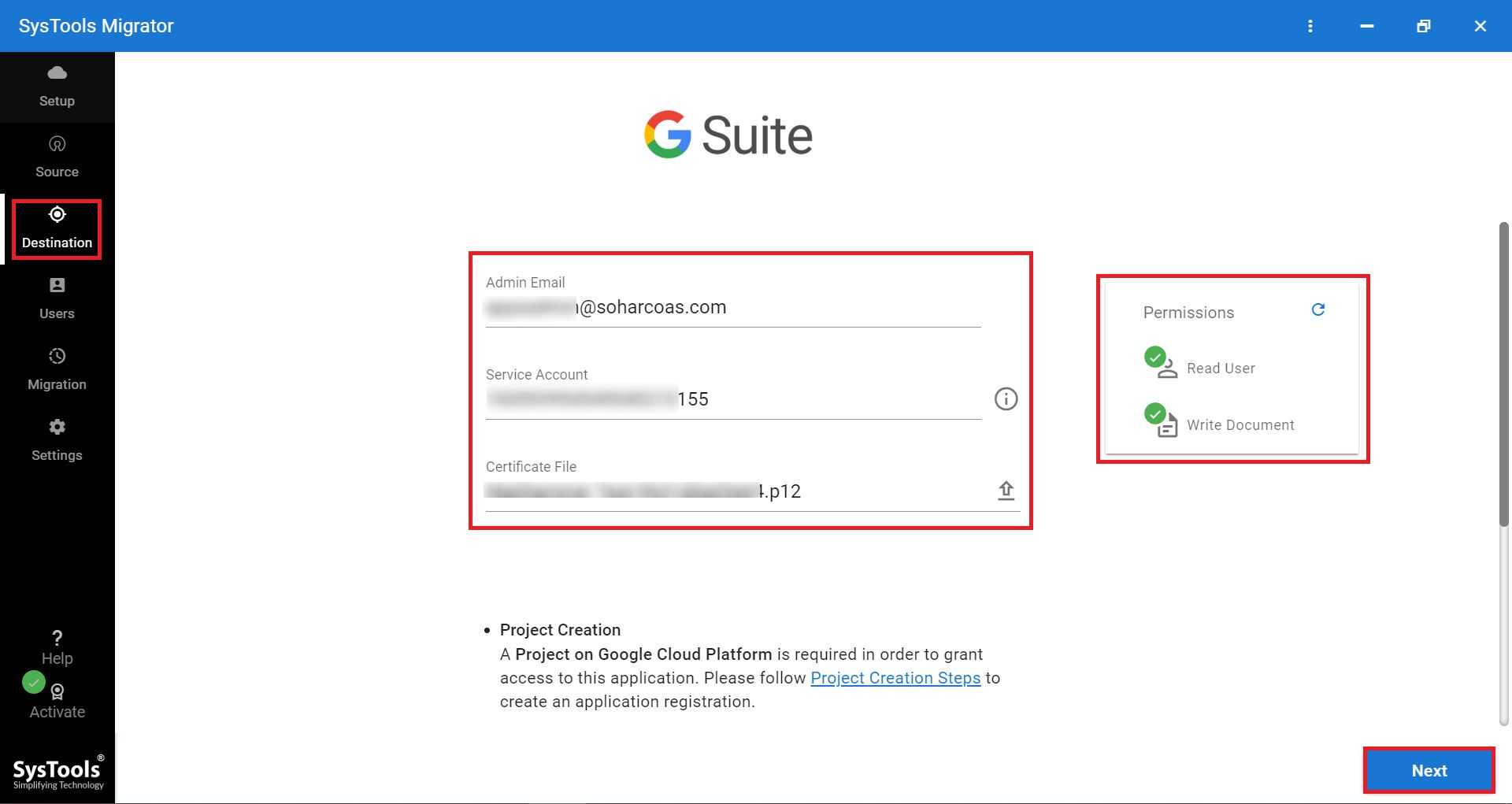 G Suite as destination