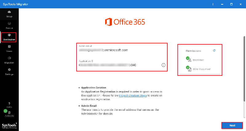 Office 365 as destination