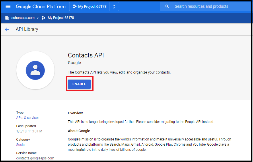Enable Google Calendar API