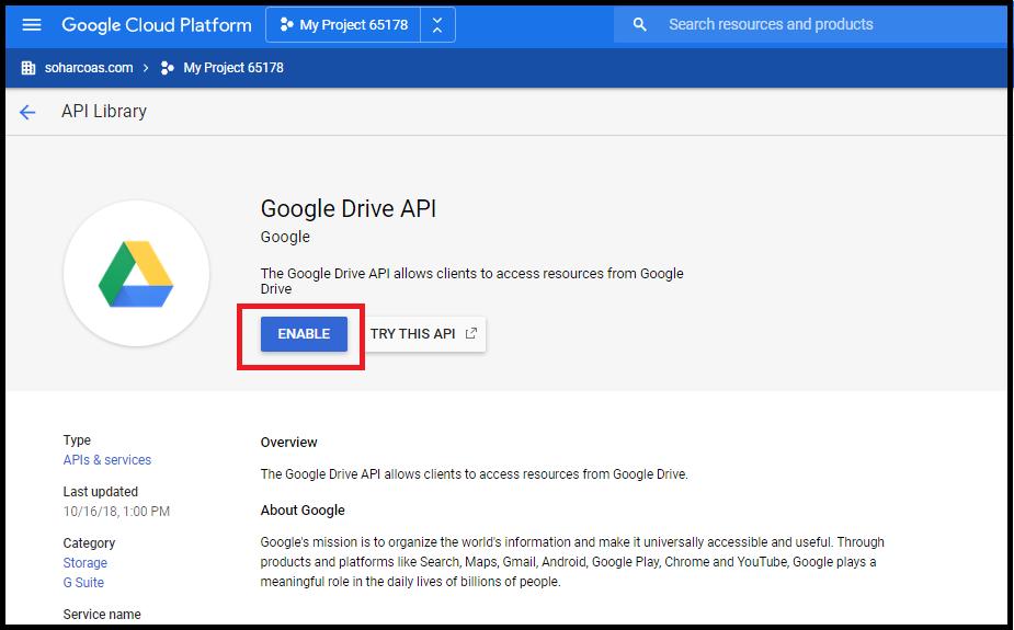 Enable Drive API