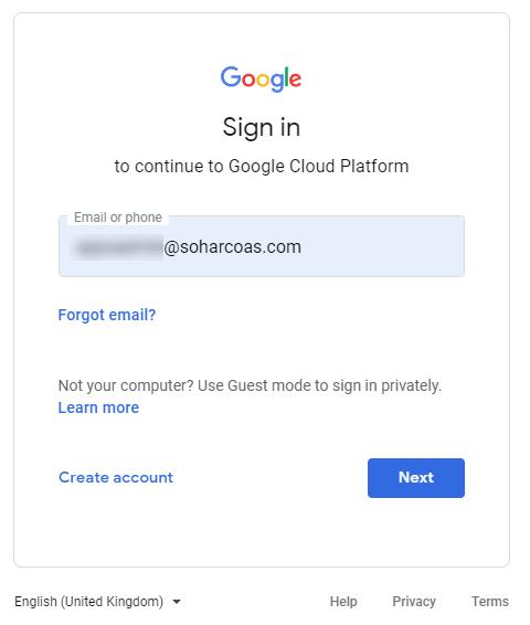 Google Cloud Console login