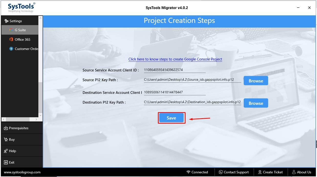 enter client id & p12 file