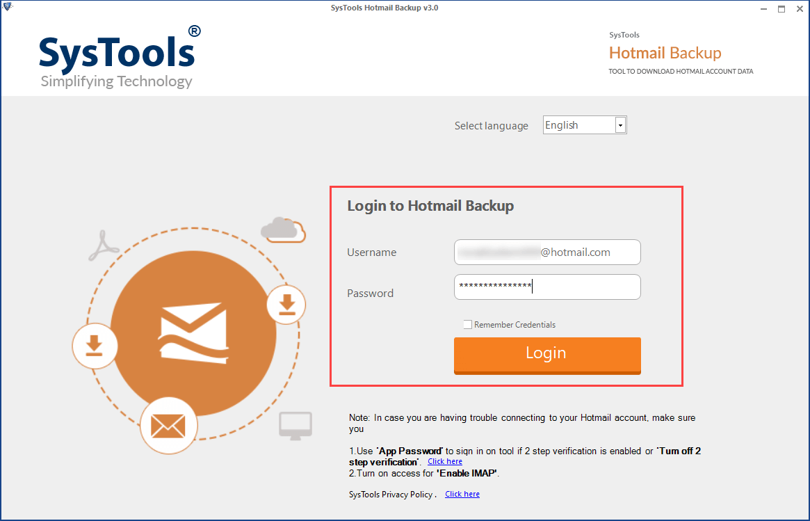 login to hotmail backup tool