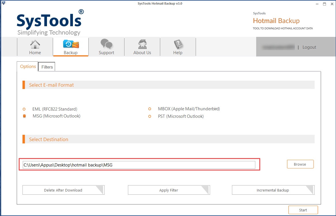 browse location to save hotmail email as msg