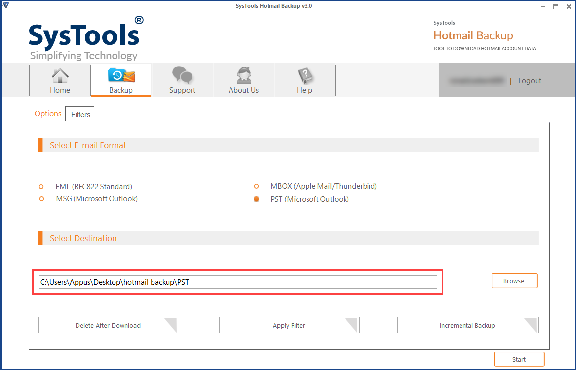 browse a location to save Outlook PST file