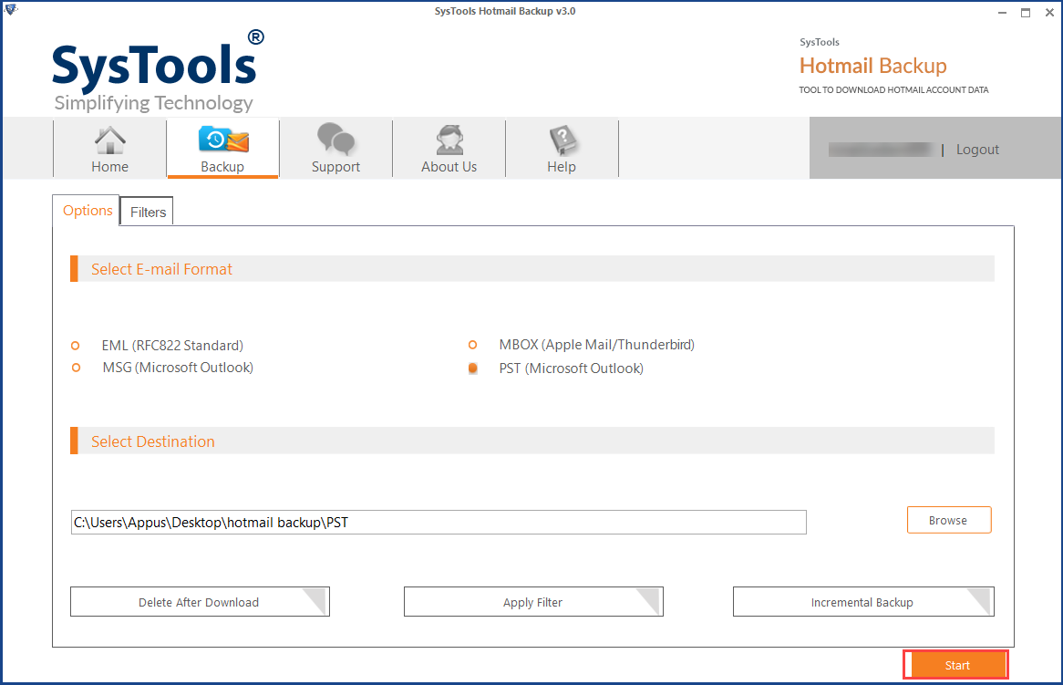 start process to transfer emails from Hotmail to outlook file
