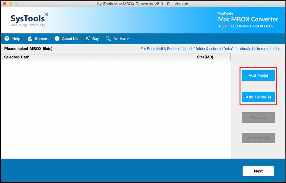 Add MBOX file