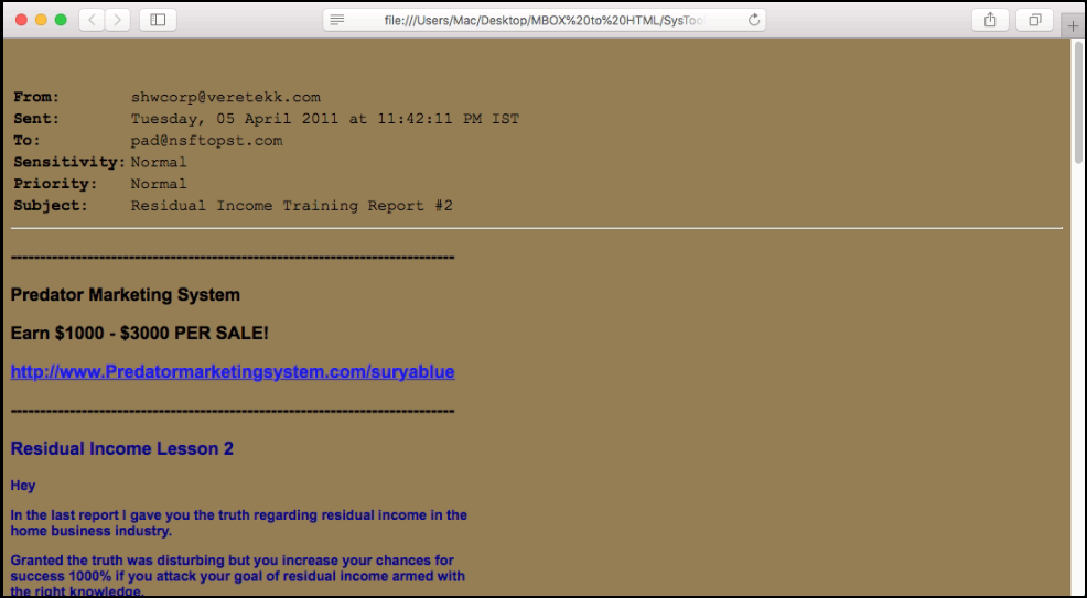 html message