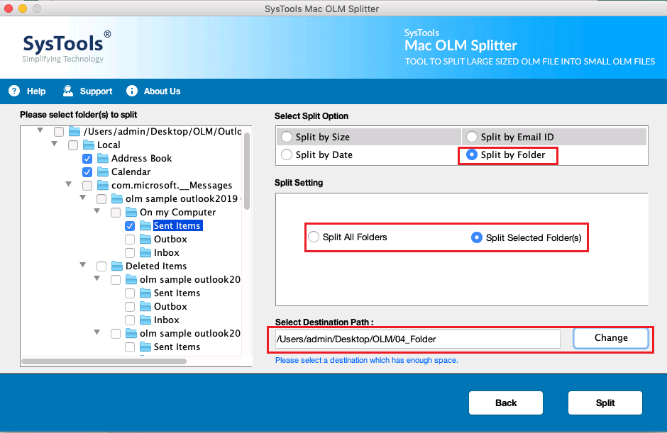 Mac OLM file splitter
