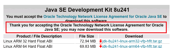 jdk 8 download Accept License Agreement